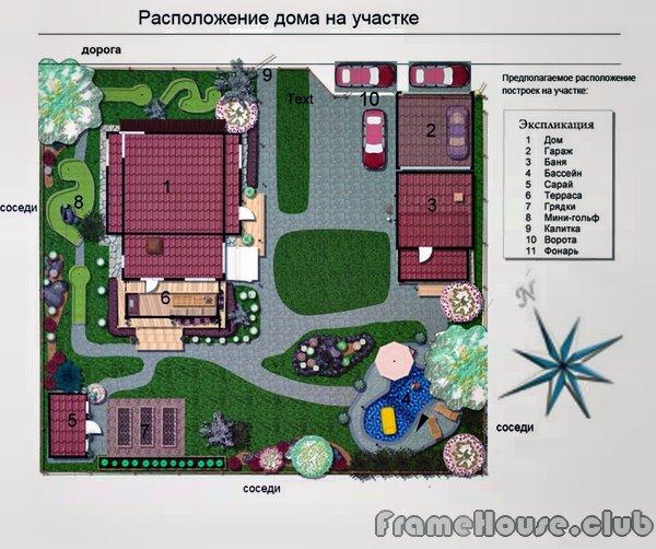 Схема размещения дома и бани на участке