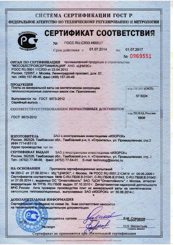 сертификат на базальтовую плиту