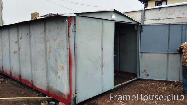 Металлический разборный гараж ставим ворота
