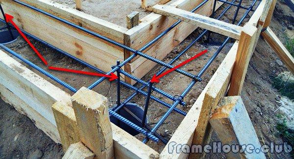 арматурные прутья следует закладывать внахлест, зацепляя за вертикальную арматуру